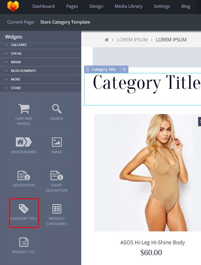 Store Category Template category title
