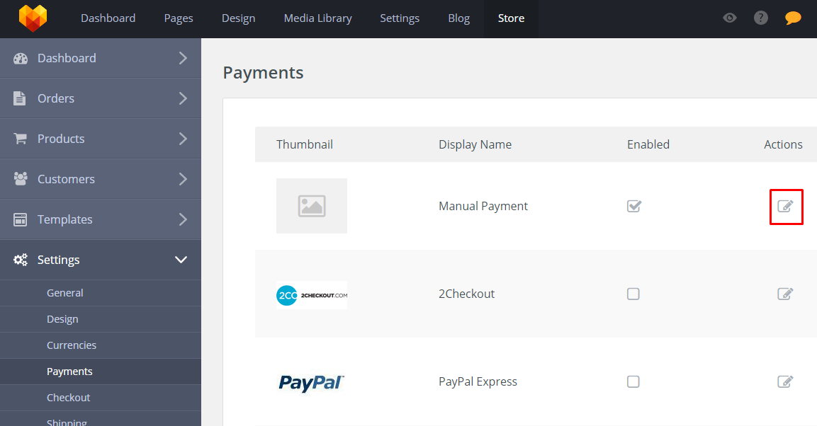 Store Payments Settings - Edit