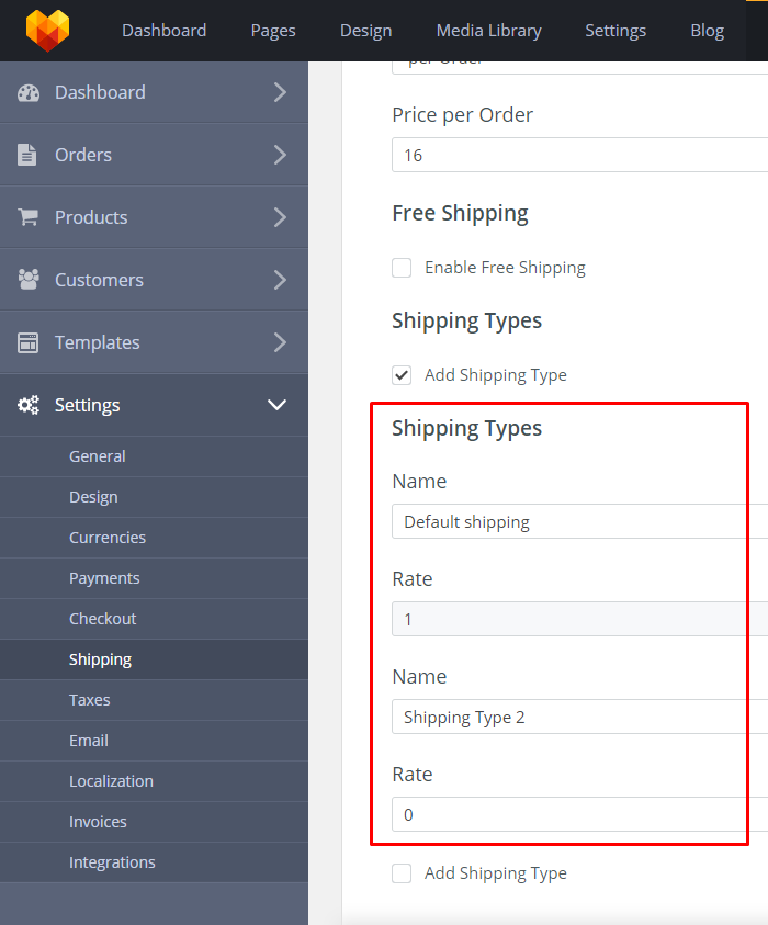 Store Shipping Settings - New Shipping Type