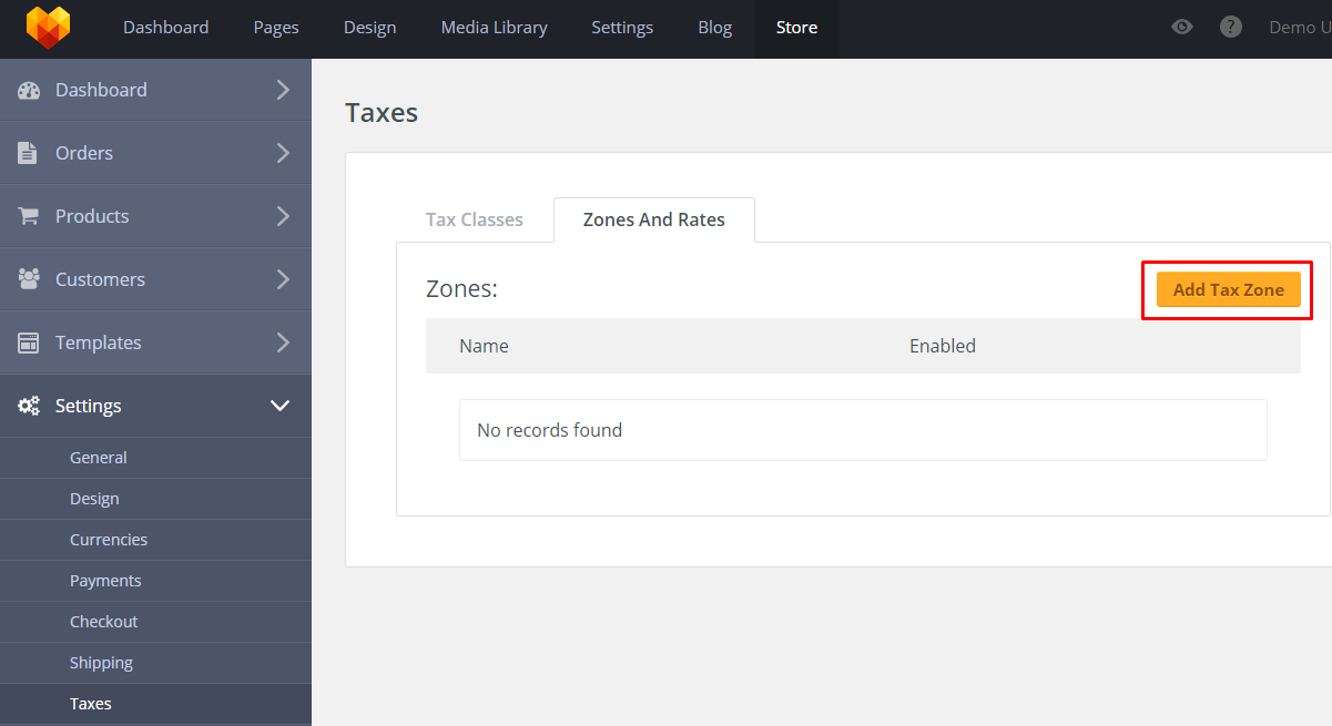 Store Taxes Settings Zones and Rates