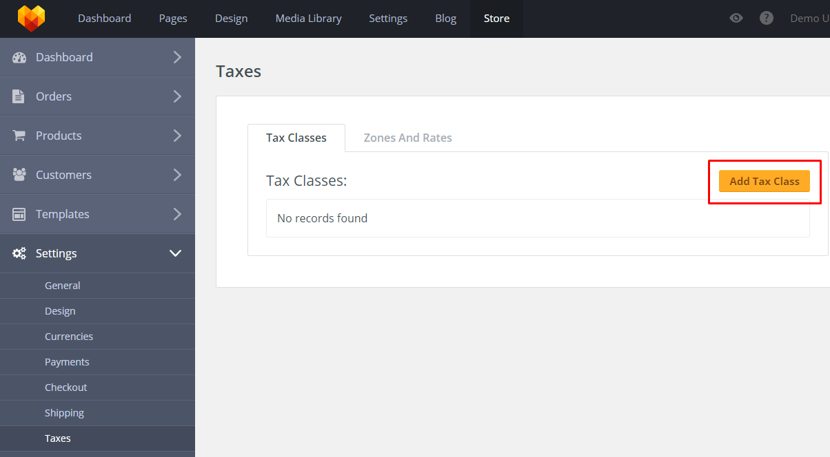 Store Taxes Settings