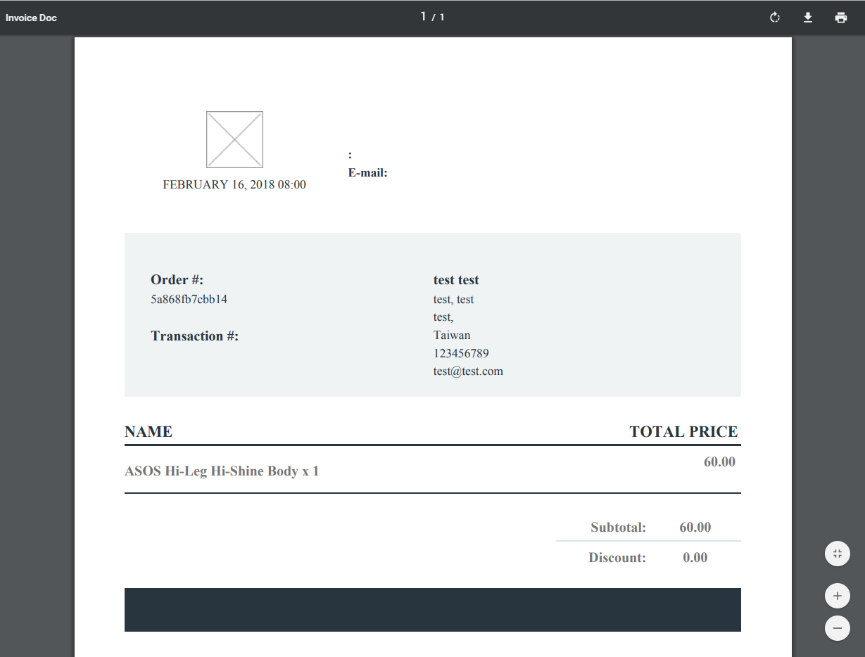 Store Invoices Settings example