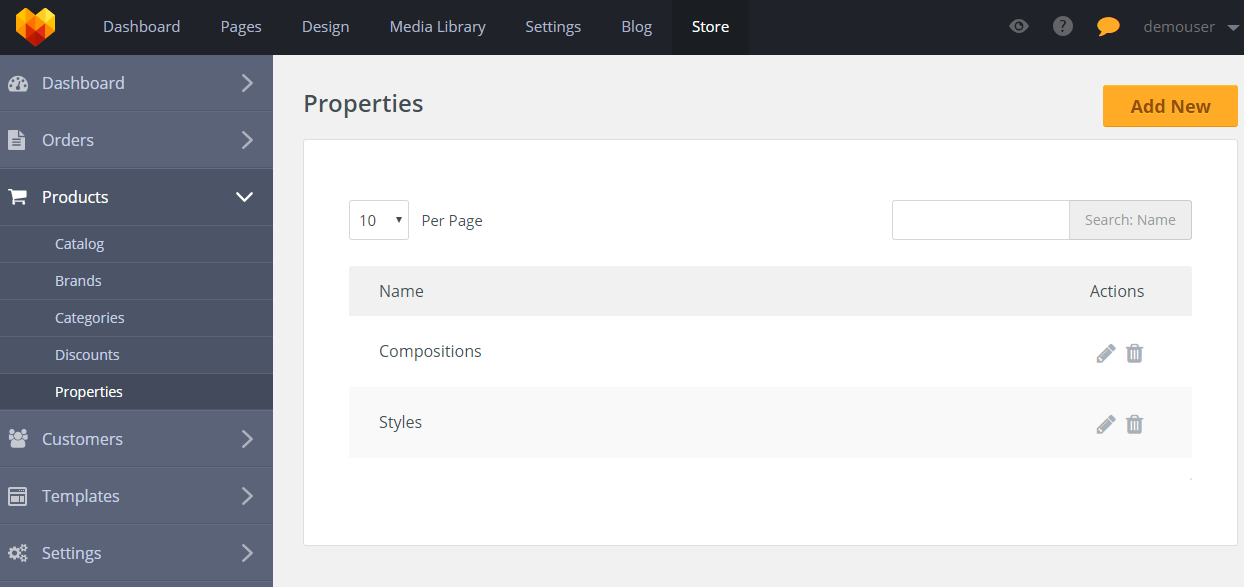 Store Product Properties - Add new