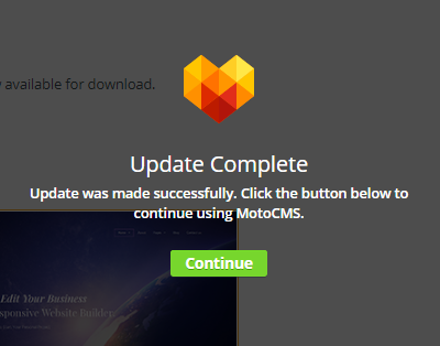 MotoCMS 3 Settings Updates  successfull notification