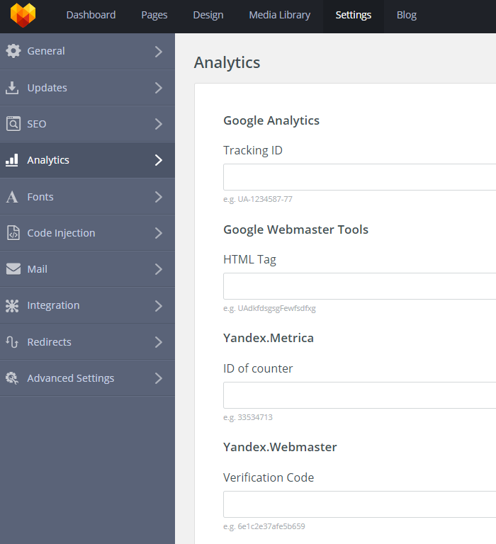 MotoCMS 3 Settings Analytics