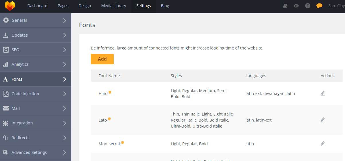 MotoCMS 3 Settings Fonts