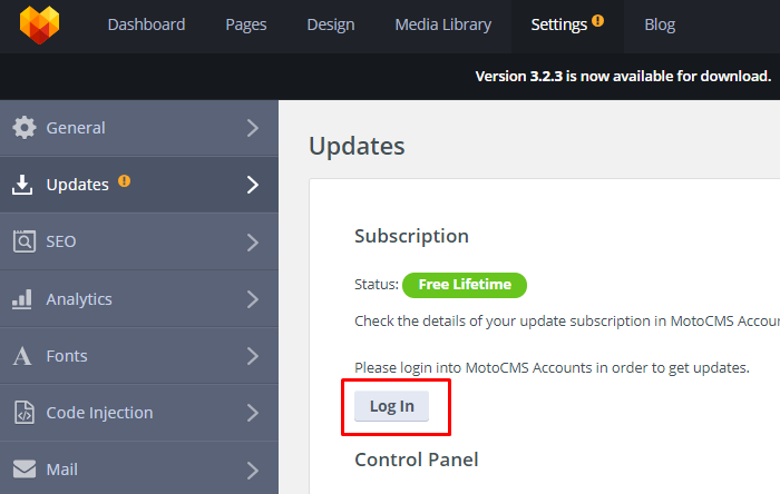 MotoCMS 3 Settings Updates login process