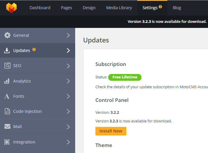 MotoCMS 3 Settings Updates section