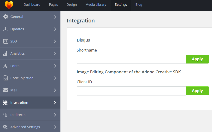 MotoCMS 3 Settings Integration