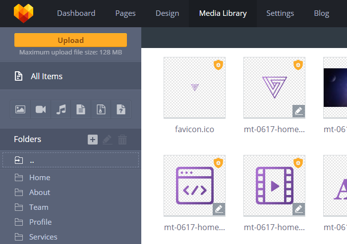 MotoCMS 3 Media Library - pload_max_filesize