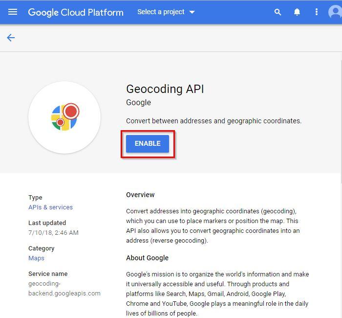 Google map API key – Moto Help Center