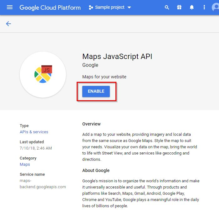 Google map API key – Moto Help Center