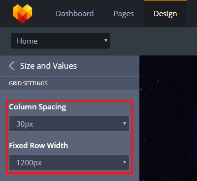 MotoCMS 3 Design Column Spacing and Fixed Row