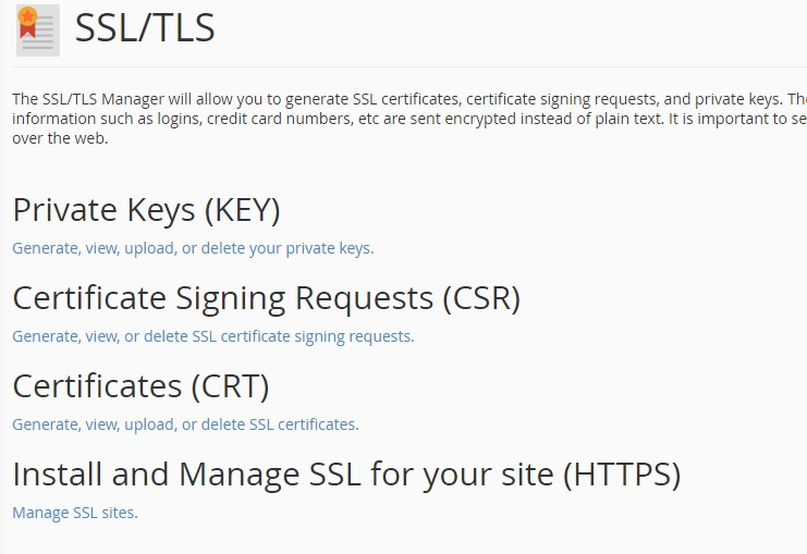 SSL certificate installation Generate a Private Key