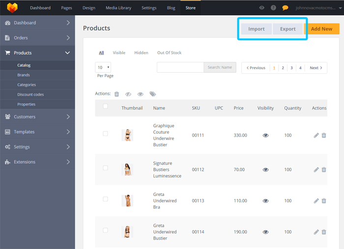Store Product Catalog Export/Import Product